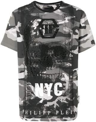 Philipp Plein camouflage skull T-shirt