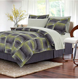 Brown & Grey Shadow Box Lime 8-Piece Bed-In-Bag, Full Bedding