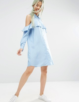 ASOS Cold Shoulder Frill Sleeve Cotton Shirt Dress $62 thestylecure.com