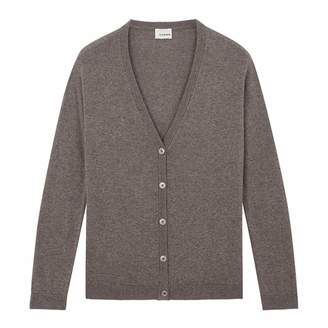 Taupe V Neck Wool/Cashmere Blend Cardigan
