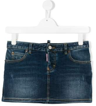 DSQUARED2 distressed denim mini skirt
