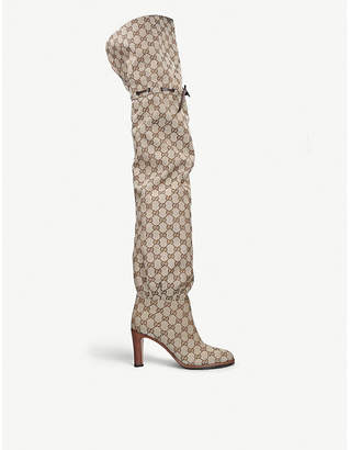 Gucci Original GG canvas over-the-knee boots