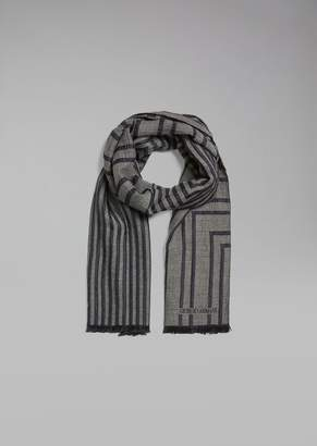 Giorgio Armani Silk And Virgin Wool Scarf In Striped Jacquard Fabric