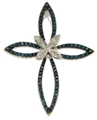 Effy 14K White Gold White and Green Diamonds Butterfly Cross Pendant
