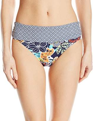 Ellen Tracy Women's Hawaiian Punch Floral Banded Midster Bikini Bottom
