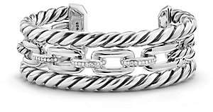 David Yurman Women's Wellesley Link Pave Diamond & Sterling Silver Three-Row Cuff