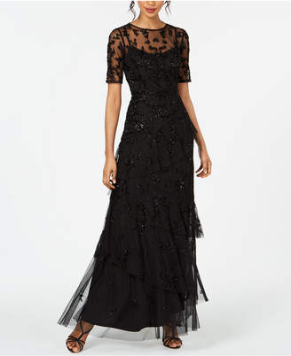 Adrianna Papell Beaded Ruffled Gown