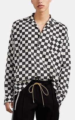 Rhude Men's Checkerboard Cotton Plain-Weave Shirt - Black Size L