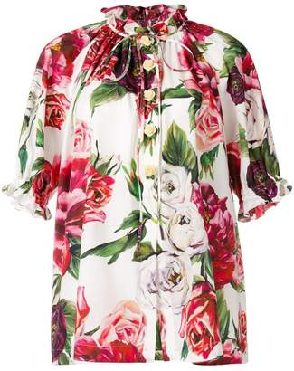 Dolce & Gabbana peony print mandarin collar shirt