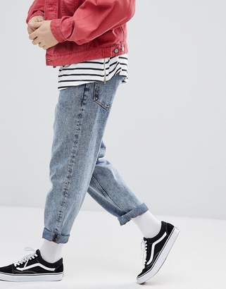 Asos DESIGN Skater Fit Jeans In Vintage Light Wash