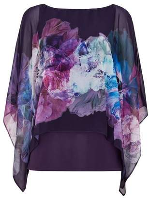 Wallis Purple Floral Overlayer Top