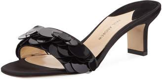 Paul Andrew Paillette One-Band Satin Slide Sandal