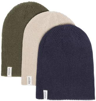 Burton Ak green, navy and grey 3 pack logo knitted beanie hats
