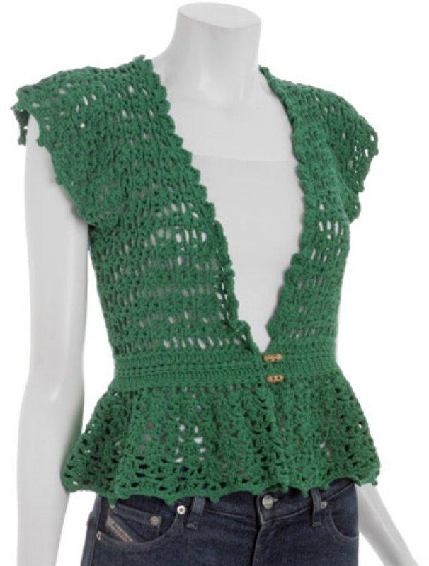 Charlotte Ronson palm cotton crochet cardigan