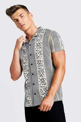 boohoo Multi Jacquard Short Sleeve Revere Shirt