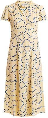 Morgan HVN heart-print silk long dress