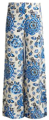 Rebecca De Ravenel - Floral Print Silk Trousers - Womens - Blue Multi
