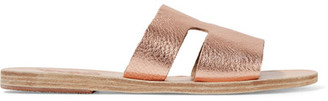 Ancient Greek Sandals - Apteros Cutout Metallic Leather Slides $235 thestylecure.com