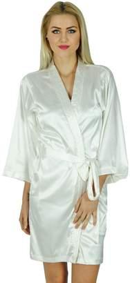 ccf22e59a1 Bimba Women Short Satin Getting Ready Robe Bridesmaid Kimono Sleeve Coverup