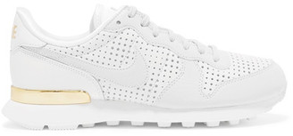 Nike - Internationalist Perforated Leather Sneakers - White $100 thestylecure.com