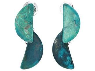 Robert Lee Morris Dark Blue Patina Geometric Half Moon Double Drop Earrings