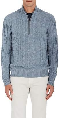 Loro Piana Men's Cable-Knit Cashmere Half-Zip Sweater