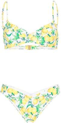 Onia Lydia Delilah lemon-print bikini