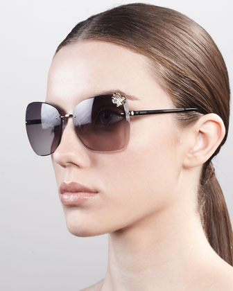 Gucci Butterfly-Temple Rimless Sunglasses, Golden/Black
