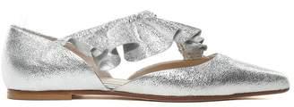 Anna Baiguera Malika Ruched Metallic-leather Ballet Flats