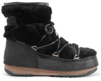Moon Boot Shearling And Coated-suede Snow Boots - Black