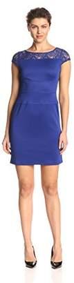 Julian Taylor Women's Lace Illusion Solid Dress