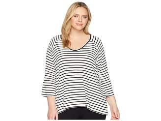 Calvin Klein Plus Plus Size Stripe V-Neck w/ Flare Sleeve