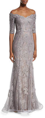 La Femme Off-the-Shoulder Embroidered Tulle Gown, Pink/Gray