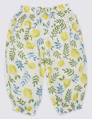 Marks and Spencer All Over Lemon Print Woven Trousers