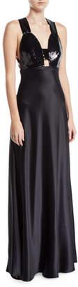 Jill Stuart Sequined & Satin Combo Gown