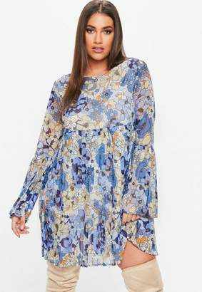 Missguided Curve Retro Floral Print Pleated Dress
