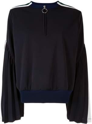 Facetasm flared sleeves henley sweatshirt
