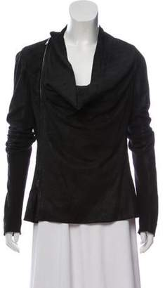 Rick Owens Leather Cowl Neck Jacket Black Leather Cowl Neck Jacket