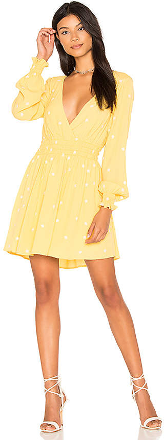 For Love & Lemons Chiquita Long Sleeve Dress in Yellow