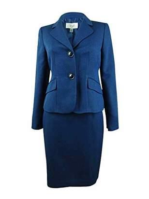 Le Suit Women's Petite 2 Button Notch Collar Novelty Skirt Suit