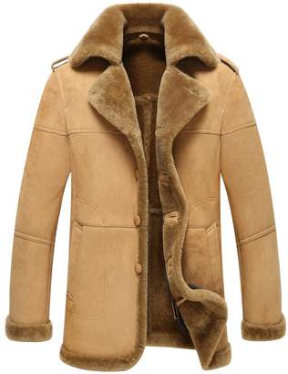 LINAILIN Leather Jacket Man Shearling Coat Sheepskin Jacket B-3 Bomber Outerwear Flight Coat (L, )