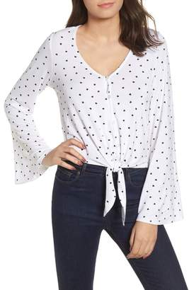 Love, Fire Tie Front Bell Sleeve Blouse