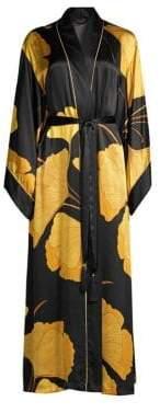 Natori Josie Gingko Floral Silk Robe