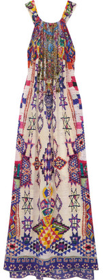Camilla - Embellished Printed Silk Crepe De Chine Maxi Dress - Purple $600 thestylecure.com