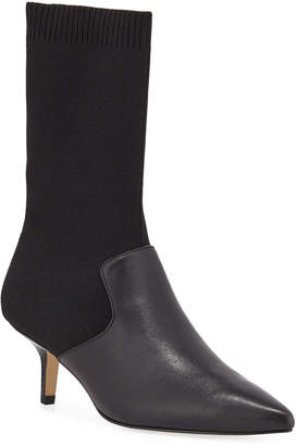 Halston Annalise Stretch-Leather Sock Booties