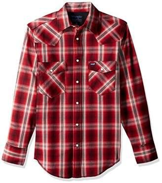 Wrangler Men's Two Pocket Long Sleeve Snap Work Shirt