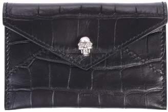 Alexander McQueen Black Crocodile Effect Card Holder