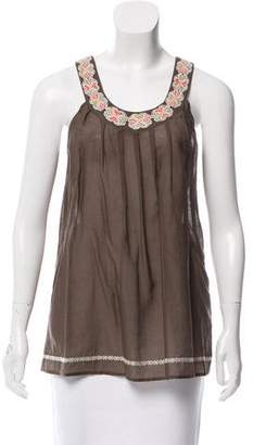 Joie Embroidered Pleated Top
