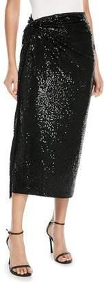 Michael Kors Matte Jersey Paillette Sarong Cocktail Skirt