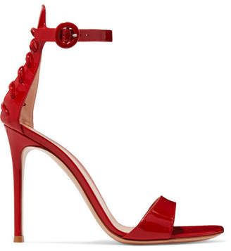 Gianvito Rossi 105 Lace-up Patent-leather Sandals - Red